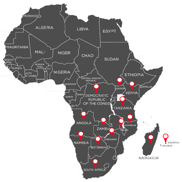 Map of supported markets in Africa
